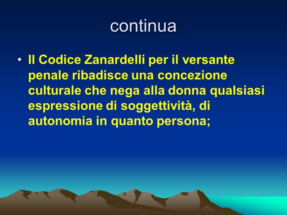 continua Il Codice Zanardelli per il versante penale ribadisce una concezione culturale che nega alla donna qualsiasi espressione di soggettività, di