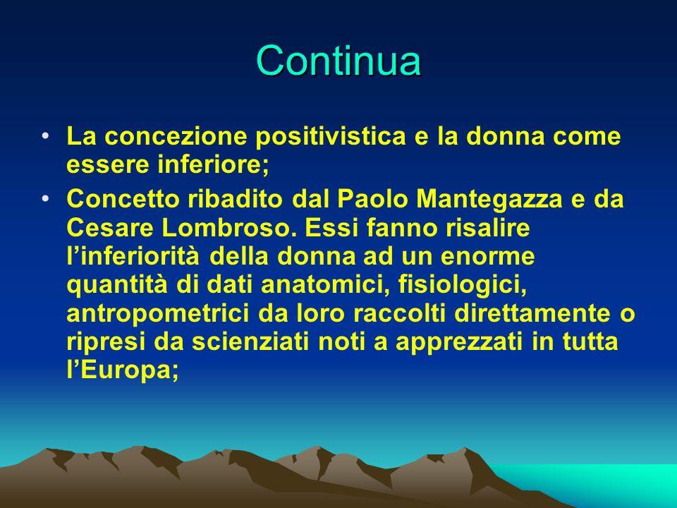 Continua La concezione positivistica e la donna come essere inferiore; Concetto ribadito dal Paolo Mantegazza e da Cesare Lombroso. Essi fanno risalir
