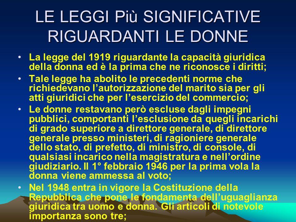 LE LEGGI Più SIGNIFICATIVE RIGUARDANTI LE DONNE La legge del 1919 riguardante la capacità giuridica della donna ed è la prima che ne riconosce i dirit