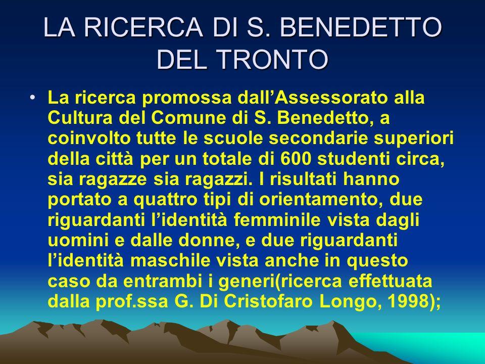 LA RICERCA DI S. BENEDETTO DEL TRONTO La ricerca promossa dallAssessorato alla Cultura del Comune di S. Benedetto, a coinvolto tutte le scuole seconda