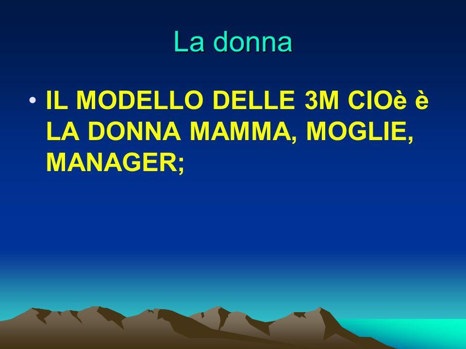La donna IL MODELLO DELLE 3M CIOè è LA DONNA MAMMA, MOGLIE, MANAGER;