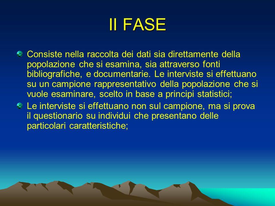 II FASE Consiste nella raccolta dei dati sia direttamente della popolazione che si esamina, sia attraverso fonti bibliografiche, e documentarie. Le in