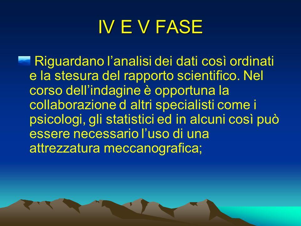 IV E V FASE Riguardano lanalisi dei dati così ordinati e la stesura del rapporto scientifico. Nel corso dellindagine è opportuna la collaborazione d a