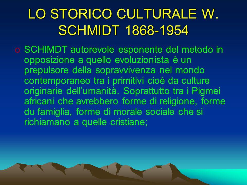 LO STORICO CULTURALE W. SCHMIDT 1868-1954 oSCHIMDT autorevole esponente del metodo in opposizione a quello evoluzionista è un prepulsore della sopravv