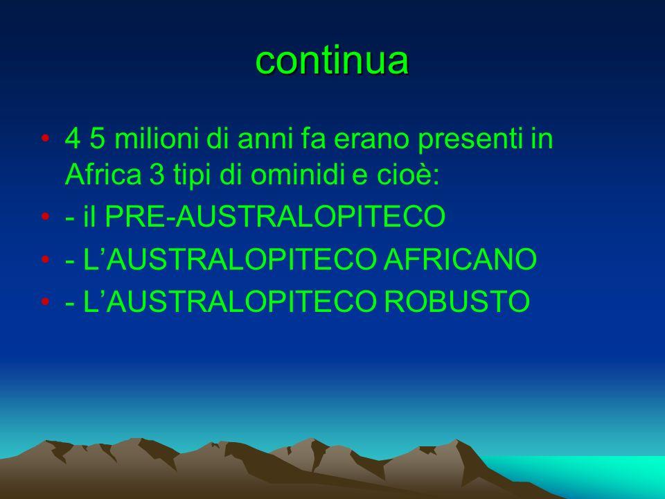 continua 4 5 milioni di anni fa erano presenti in Africa 3 tipi di ominidi e cioè: - il PRE-AUSTRALOPITECO - LAUSTRALOPITECO AFRICANO - LAUSTRALOPITEC