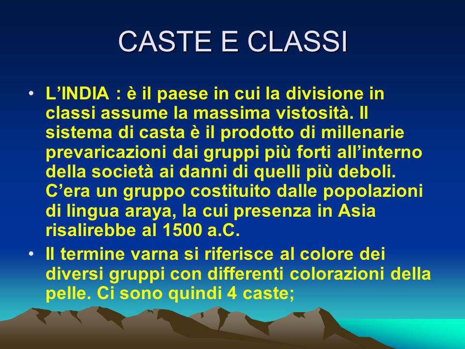 CASTE E CLASSI LINDIA : è il paese in cui la divisione in classi assume la massima vistosità. Il sistema di casta è il prodotto di millenarie prevaric