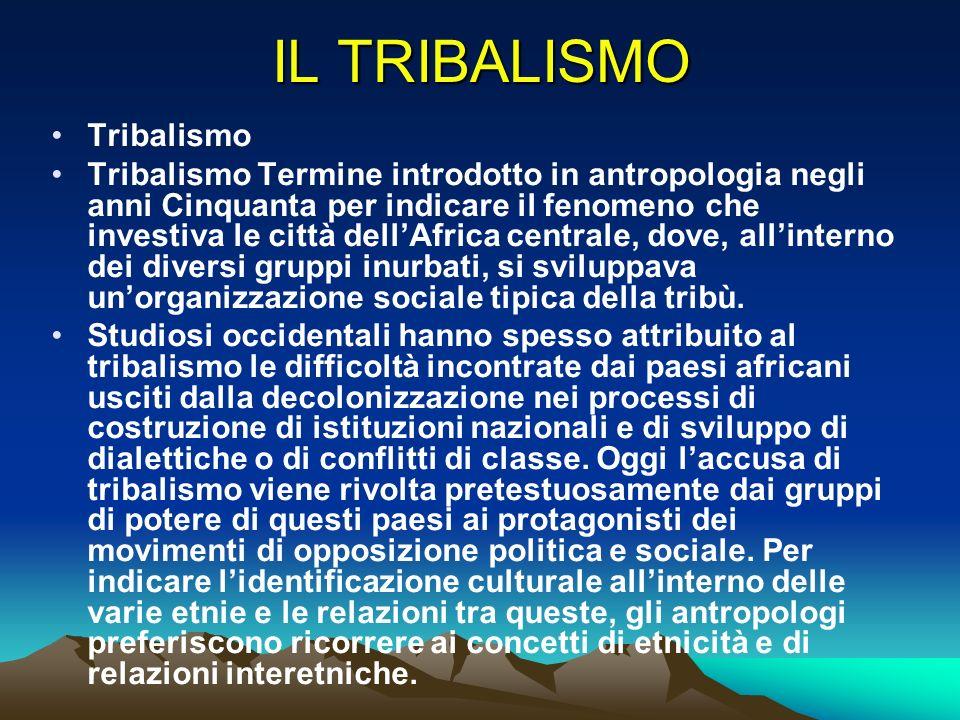 IL TRIBALISMO Tribalismo Tribalismo Termine introdotto in antropologia negli anni Cinquanta per indicare il fenomeno che investiva le città dellAfrica