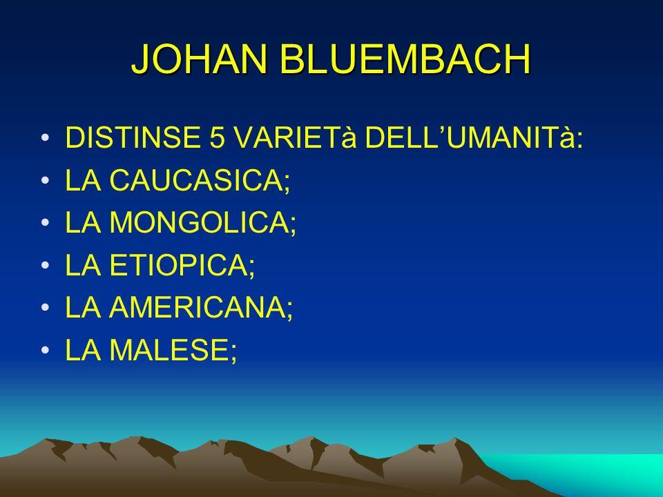 JOHAN BLUEMBACH DISTINSE 5 VARIETà DELLUMANITà: LA CAUCASICA; LA MONGOLICA; LA ETIOPICA; LA AMERICANA; LA MALESE;