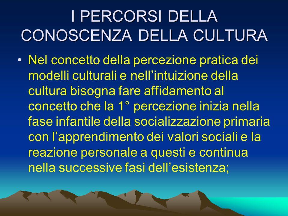 I PERCORSI DELLA CONOSCENZA DELLA CULTURA Nel concetto della percezione pratica dei modelli culturali e nellintuizione della cultura bisogna fare affi