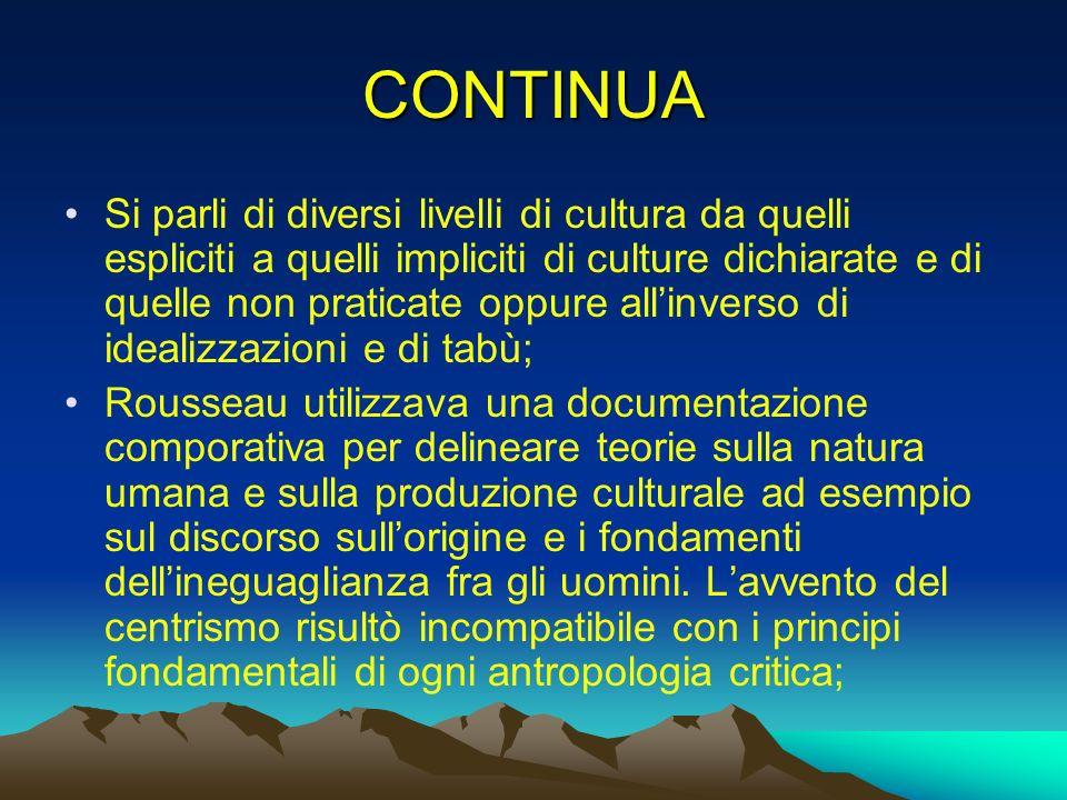 CONTINUA Si parli di diversi livelli di cultura da quelli espliciti a quelli impliciti di culture dichiarate e di quelle non praticate oppure allinver