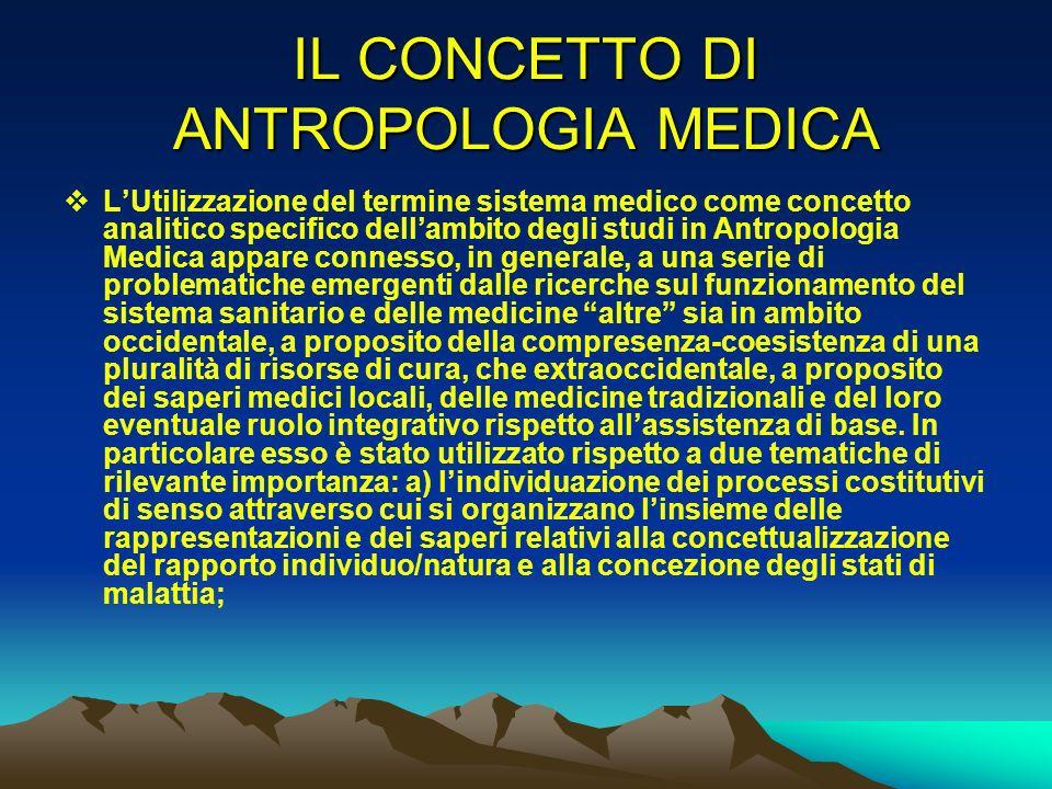 IL CONCETTO DI ANTROPOLOGIA MEDICA LUtilizzazione del termine sistema medico come concetto analitico specifico dellambito degli studi in Antropologia