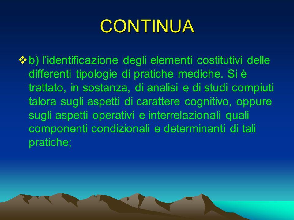 CONTINUA b) lidentificazione degli elementi costitutivi delle differenti tipologie di pratiche mediche. Si è trattato, in sostanza, di analisi e di st