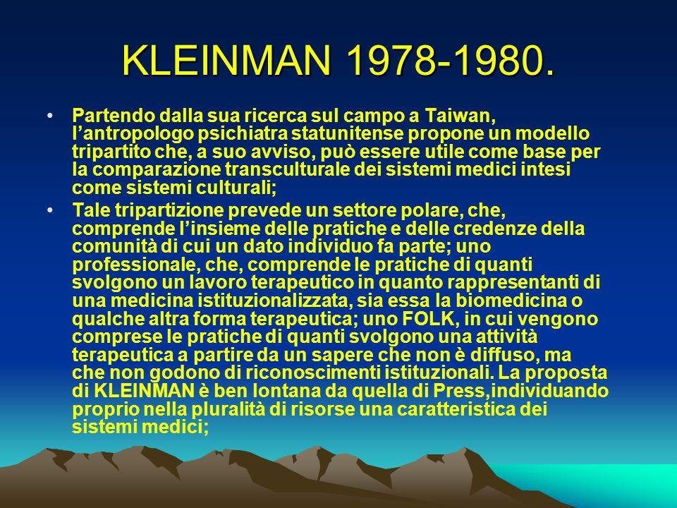 KLEINMAN 1978-1980. Partendo dalla sua ricerca sul campo a Taiwan, lantropologo psichiatra statunitense propone un modello tripartito che, a suo avvis