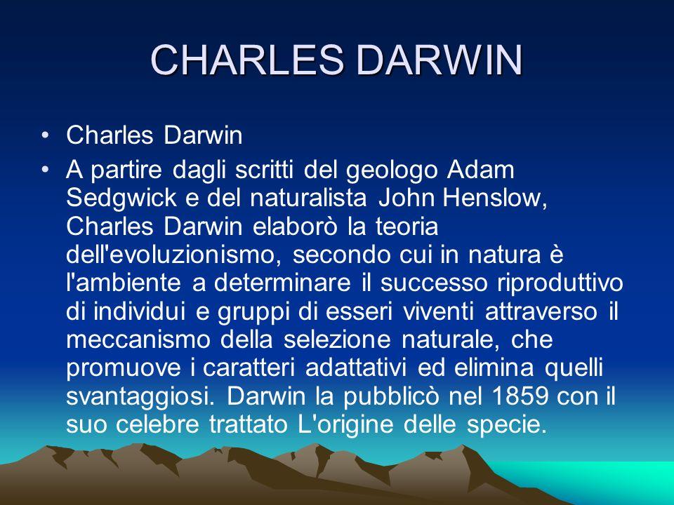 CHARLES DARWIN Charles Darwin A partire dagli scritti del geologo Adam Sedgwick e del naturalista John Henslow, Charles Darwin elaborò la teoria dell'