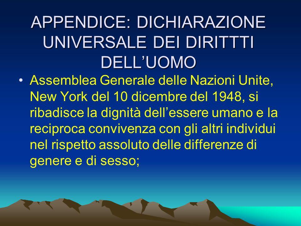 APPENDICE: DICHIARAZIONE UNIVERSALE DEI DIRITTTI DELLUOMO Assemblea Generale delle Nazioni Unite, New York del 10 dicembre del 1948, si ribadisce la d