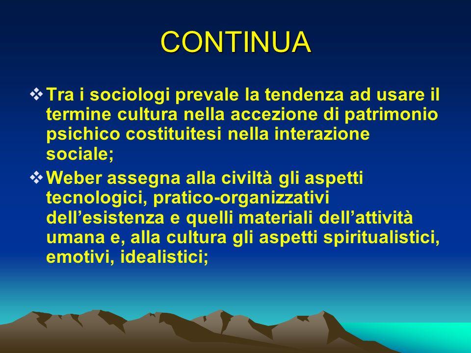 CONTINUA Tra i sociologi prevale la tendenza ad usare il termine cultura nella accezione di patrimonio psichico costituitesi nella interazione sociale