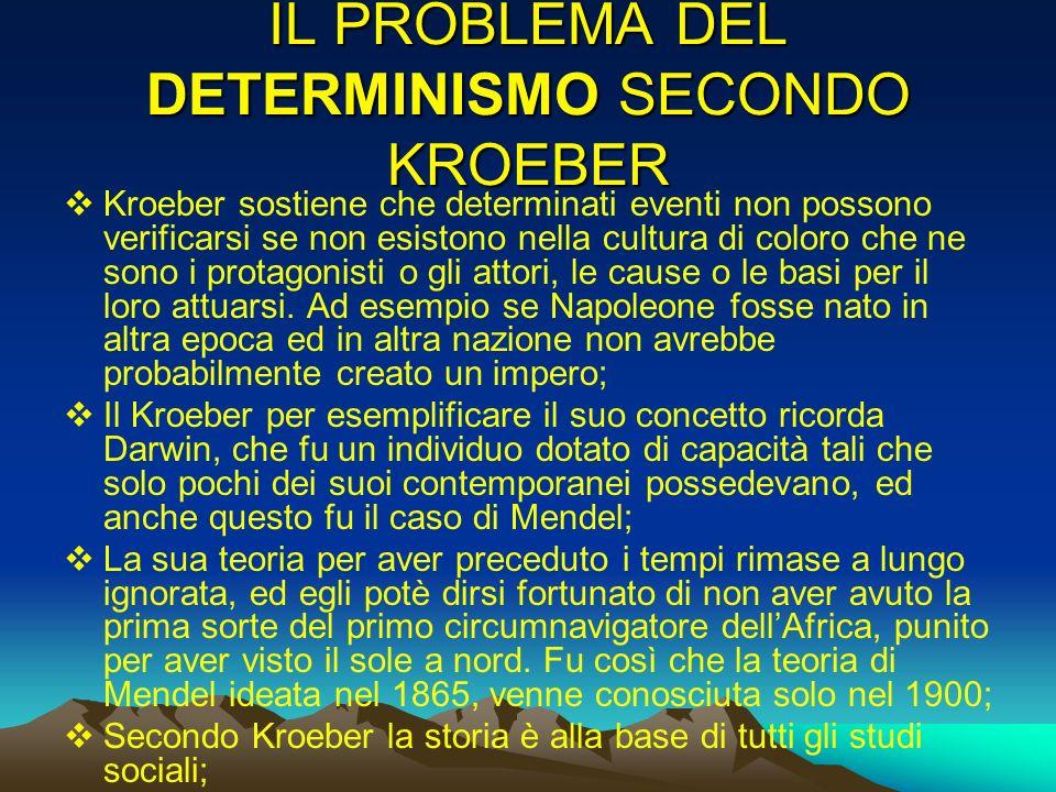 IL PROBLEMA DEL DETERMINISMO SECONDO KROEBER Kroeber sostiene che determinati eventi non possono verificarsi se non esistono nella cultura di coloro c