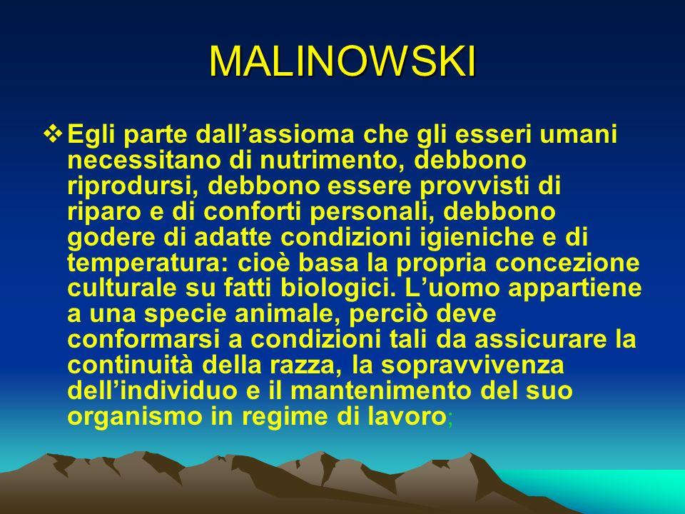MALINOWSKI Egli parte dallassioma che gli esseri umani necessitano di nutrimento, debbono riprodursi, debbono essere provvisti di riparo e di conforti