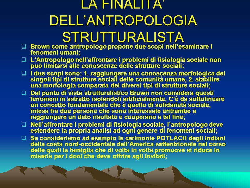 LA FINALITA DELLANTROPOLOGIA STRUTTURALISTA Brown come antropologo propone due scopi nellesaminare i fenomeni umani; LAntropologo nellaffrontare i pro