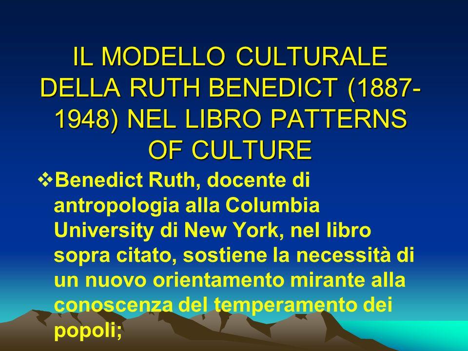 IL MODELLO CULTURALE DELLA RUTH BENEDICT (1887- 1948) NEL LIBRO PATTERNS OF CULTURE Benedict Ruth, docente di antropologia alla Columbia University di
