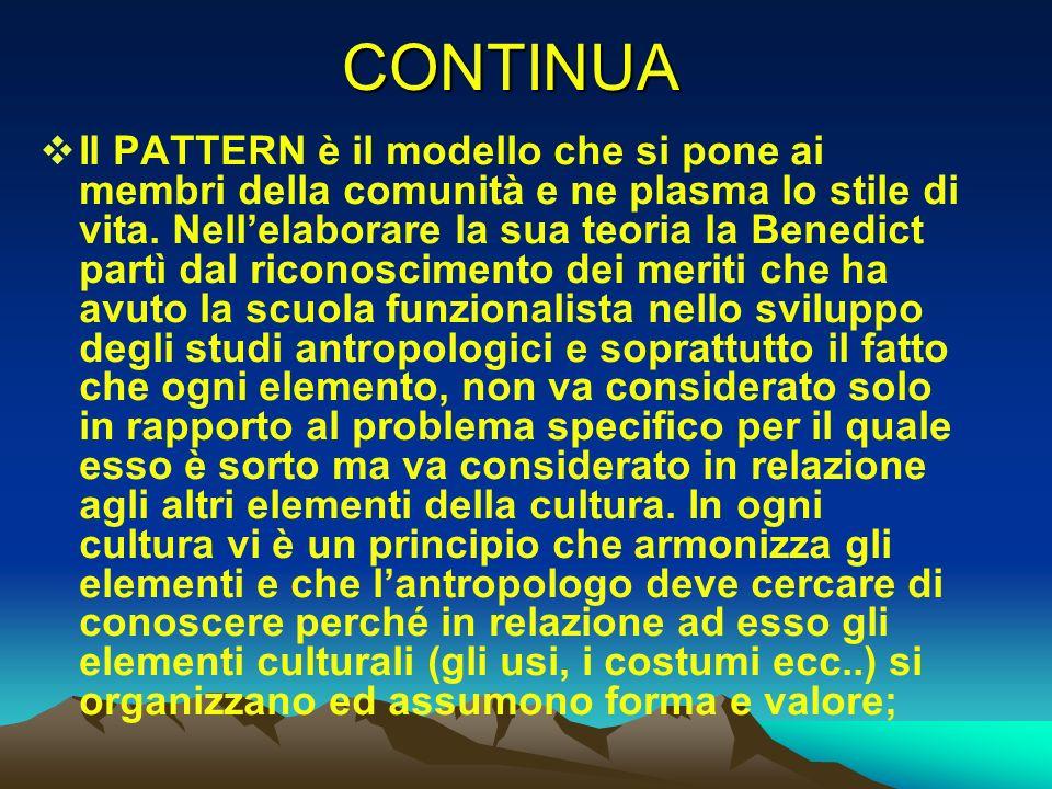 CONTINUA Il PATTERN è il modello che si pone ai membri della comunità e ne plasma lo stile di vita. Nellelaborare la sua teoria la Benedict partì dal