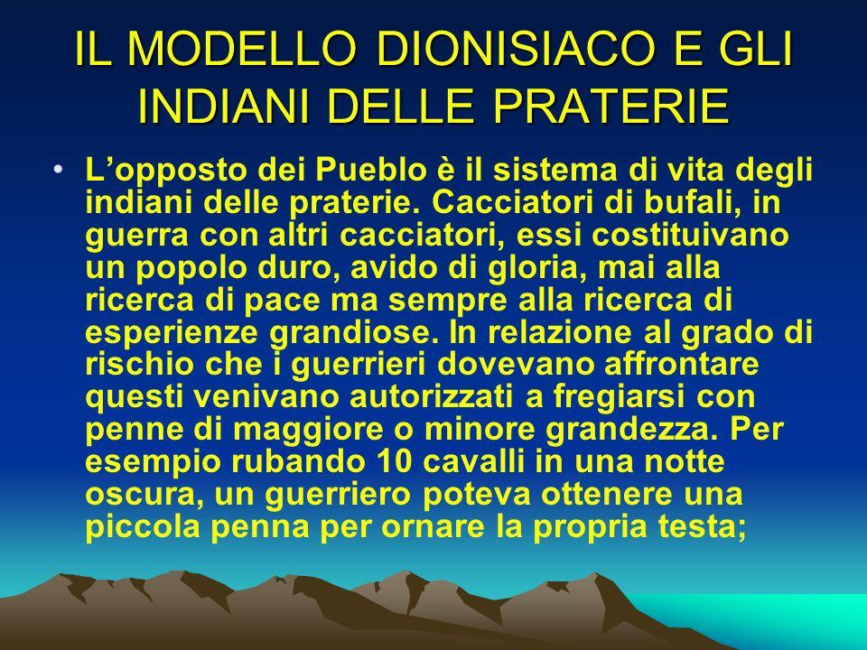 IL MODELLO DIONISIACO E GLI INDIANI DELLE PRATERIE Lopposto dei Pueblo è il sistema di vita degli indiani delle praterie. Cacciatori di bufali, in gue