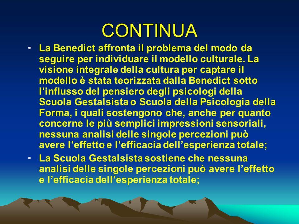 CONTINUA La Benedict affronta il problema del modo da seguire per individuare il modello culturale. La visione integrale della cultura per captare il