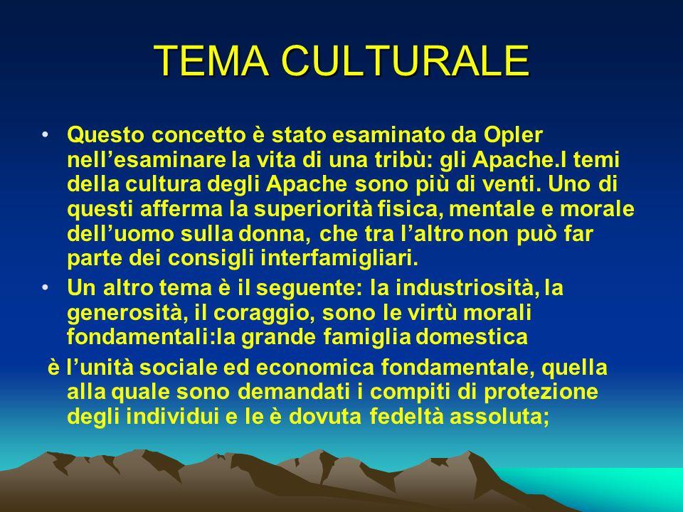 TEMA CULTURALE Questo concetto è stato esaminato da Opler nellesaminare la vita di una tribù: gli Apache.I temi della cultura degli Apache sono più di