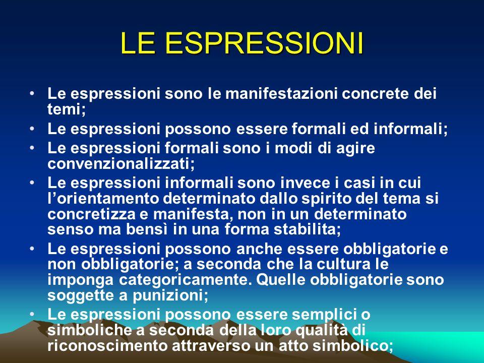 LE ESPRESSIONI Le espressioni sono le manifestazioni concrete dei temi; Le espressioni possono essere formali ed informali; Le espressioni formali son