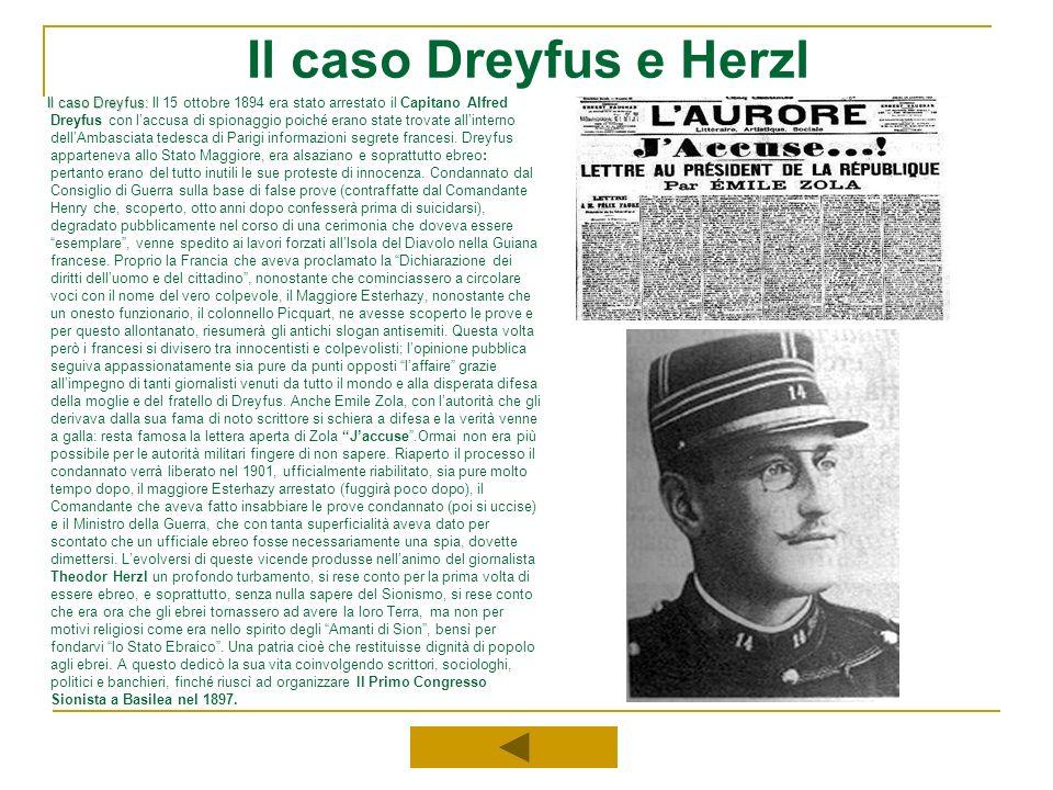 Il caso Dreyfus e Herzl Il caso Dreyfus: Il caso Dreyfus: Il 15 ottobre 1894 era stato arrestato il Capitano Alfred Dreyfus con laccusa di spionaggio