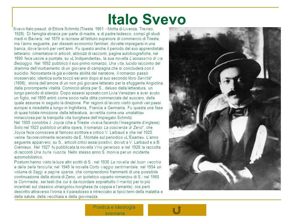 Italo Svevo Poetica e ideologia sveviana Svevo Italo pseud. di Ettore Schmitz (Trieste 1861 - Motta di Livenza, Treviso, 1928). Di famiglia ebraica pe
