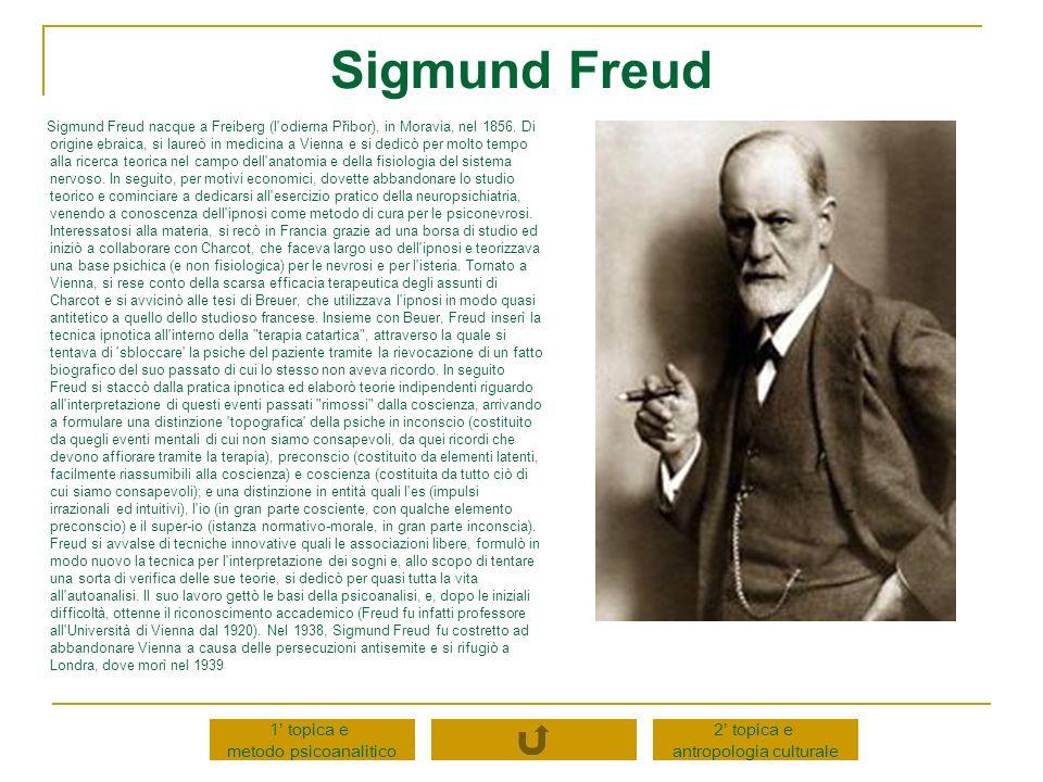 Sigmund Freud nacque a Freiberg (l'odierna Přibor), in Moravia, nel 1856. Di origine ebraica, si laureò in medicina a Vienna e si dedicò per molto tem