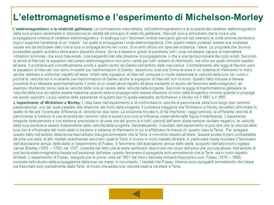 Lelettromagnetismo e lesperimento di Michelson-Morley Lelettromagnetismo e la relatività galileiana: Lelettromagnetismo e la relatività galileiana: La
