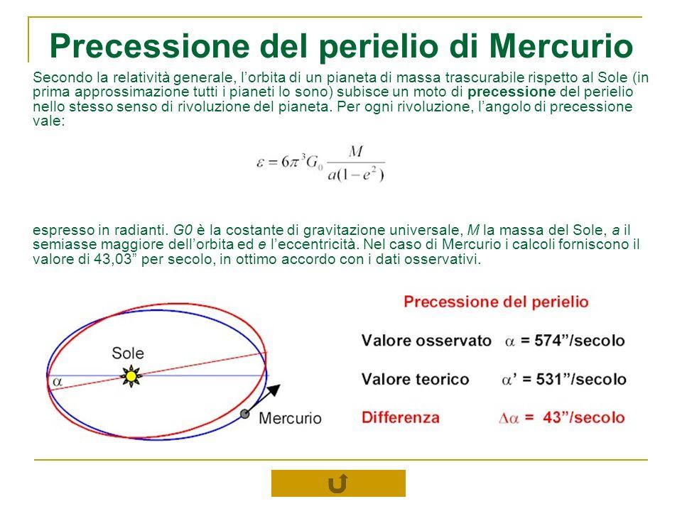 Precessione del perielio di Mercurio Secondo la relatività generale, lorbita di un pianeta di massa trascurabile rispetto al Sole (in prima approssima
