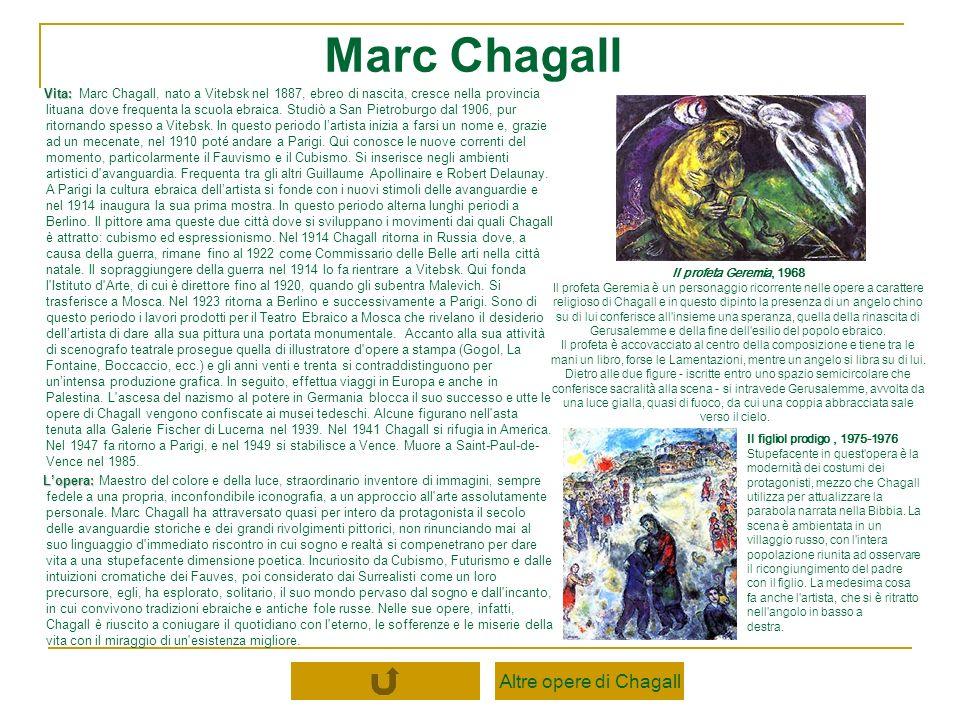 Vita: Vita: Marc Chagall, nato a Vitebsk nel 1887, ebreo di nascita, cresce nella provincia lituana dove frequenta la scuola ebraica. Studiò a San Pie