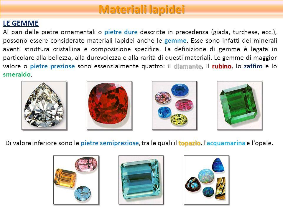 Materiali lapidei diamanterubino Al pari delle pietre ornamentali o pietre dure descritte in precedenza (giada, turchese, ecc.), possono essere consid