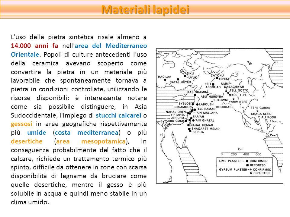 Materiali lapidei L'uso della pietra sintetica risale almeno a 14.000 anni fa nell'area del Mediterraneo Orientale. Popoli di culture antecedenti l'us