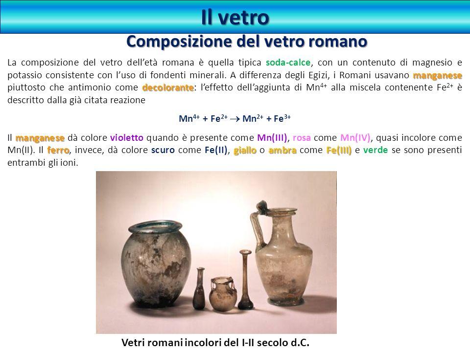 Il vetro manganese decolorante La composizione del vetro delletà romana è quella tipica soda-calce, con un contenuto di magnesio e potassio consistent