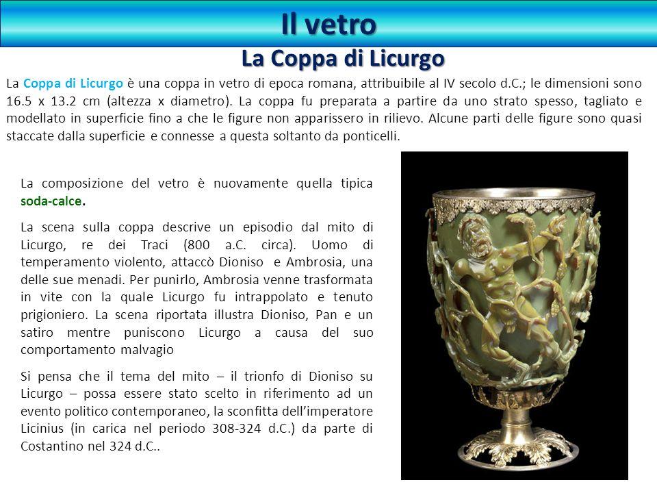 La Coppa di Licurgo è una coppa in vetro di epoca romana, attribuibile al IV secolo d.C.; le dimensioni sono 16.5 x 13.2 cm (altezza x diametro). La c