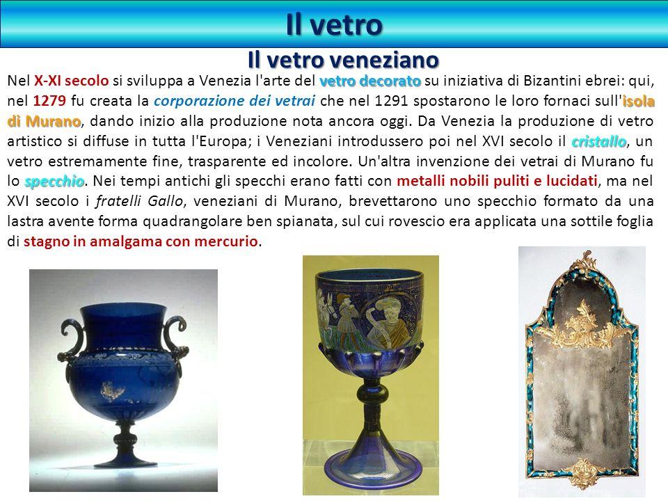 vetro decorato isola di Murano cristallo specchio Nel X-XI secolo si sviluppa a Venezia l'arte del vetro decorato su iniziativa di Bizantini ebrei: qu