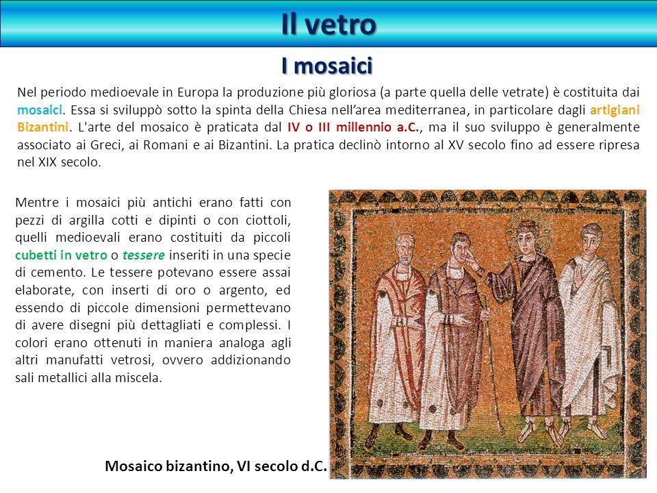 Mentre i mosaici più antichi erano fatti con pezzi di argilla cotti e dipinti o con ciottoli, quelli medioevali erano costituiti da piccoli cubetti in