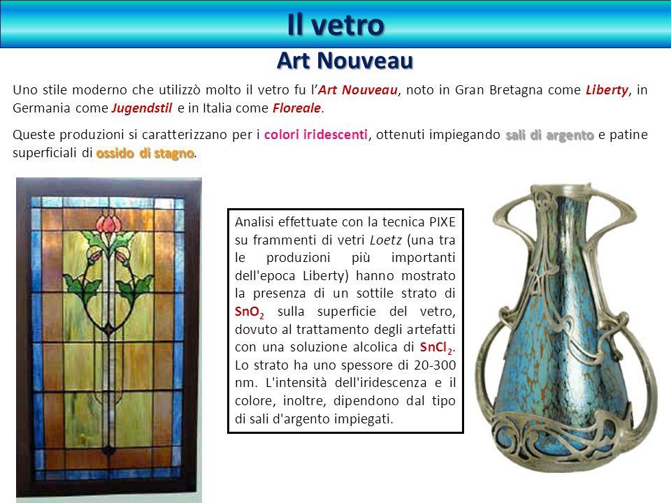 Uno stile moderno che utilizzò molto il vetro fu lArt Nouveau, noto in Gran Bretagna come Liberty, in Germania come Jugendstil e in Italia come Florea