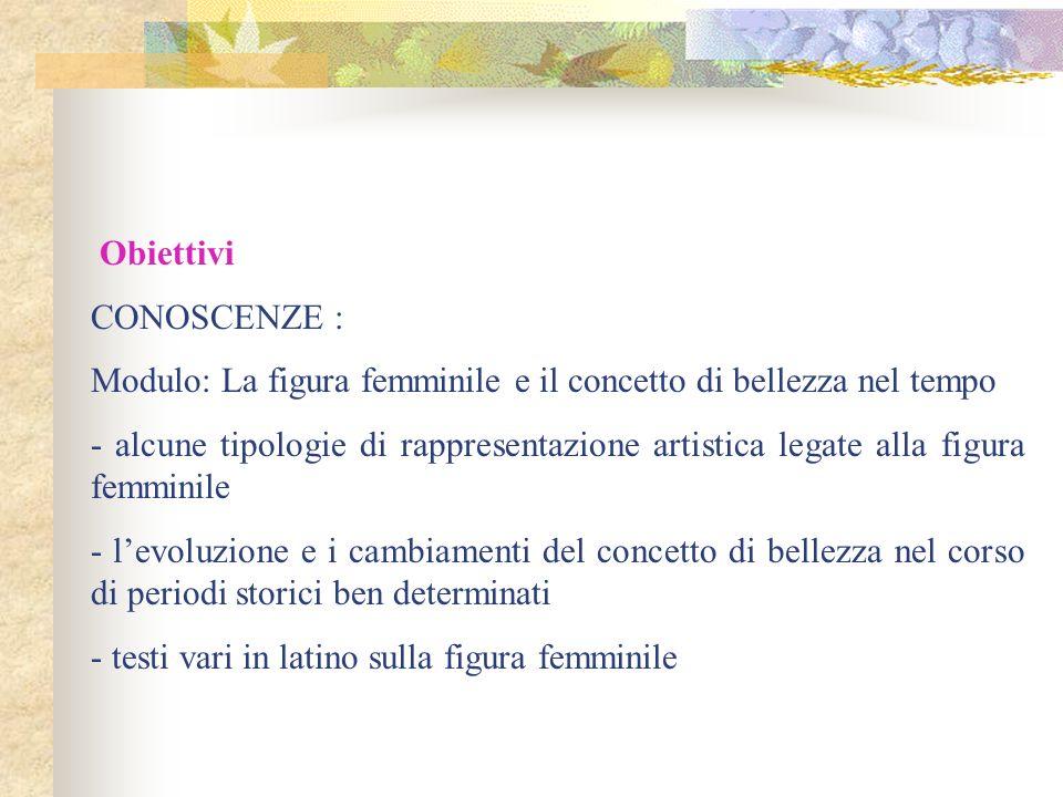 Obiettivi CONOSCENZE : Modulo: La figura femminile e il concetto di bellezza nel tempo - alcune tipologie di rappresentazione artistica legate alla fi