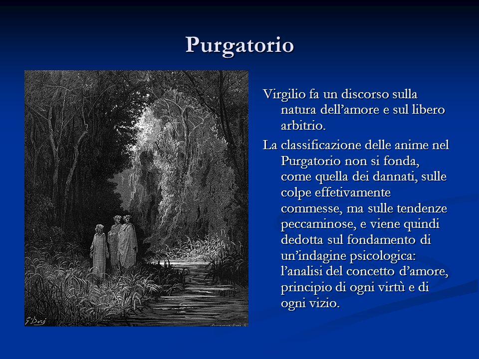 Purgatorio Virgilio fa un discorso sulla natura dellamore e sul libero arbitrio. La classificazione delle anime nel Purgatorio non si fonda, come quel