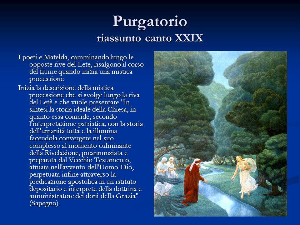 Purgatorio riassunto canto XXIX I poeti e Matelda, camminando lungo le opposte rive del Lete, risalgono il corso del fiume quando inizia una mistica p