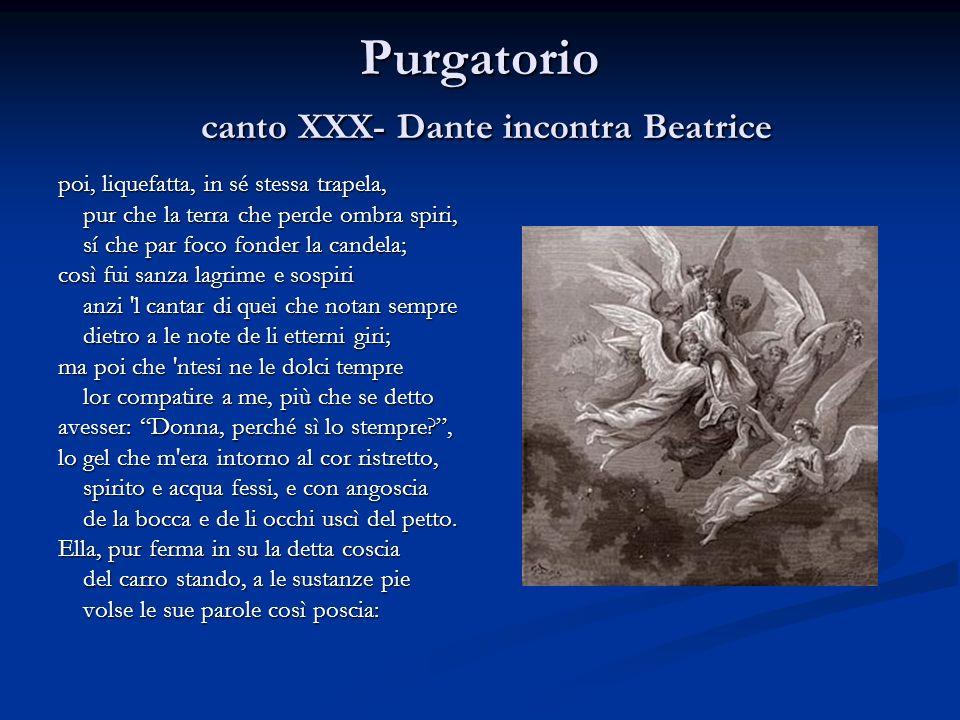 Purgatorio canto XXX- Dante incontra Beatrice poi, liquefatta, in sé stessa trapela, pur che la terra che perde ombra spiri, pur che la terra che perd