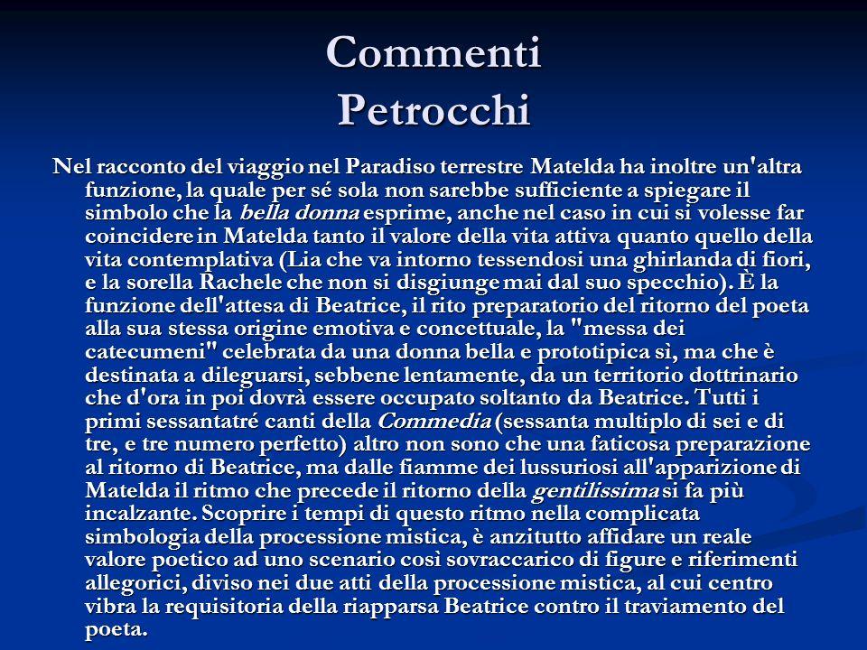 Commenti Petrocchi Nel racconto del viaggio nel Paradiso terrestre Matelda ha inoltre un'altra funzione, la quale per sé sola non sarebbe sufficiente
