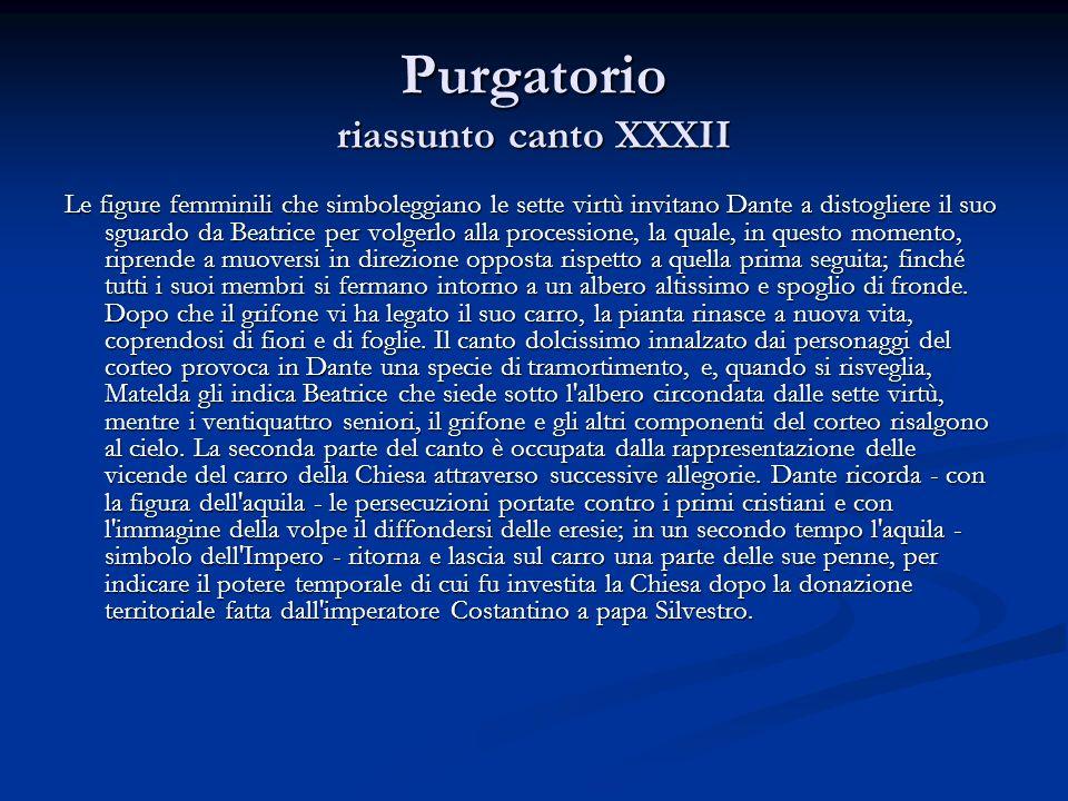 Purgatorio riassunto canto XXXII Le figure femminili che simboleggiano le sette virtù invitano Dante a distogliere il suo sguardo da Beatrice per volg