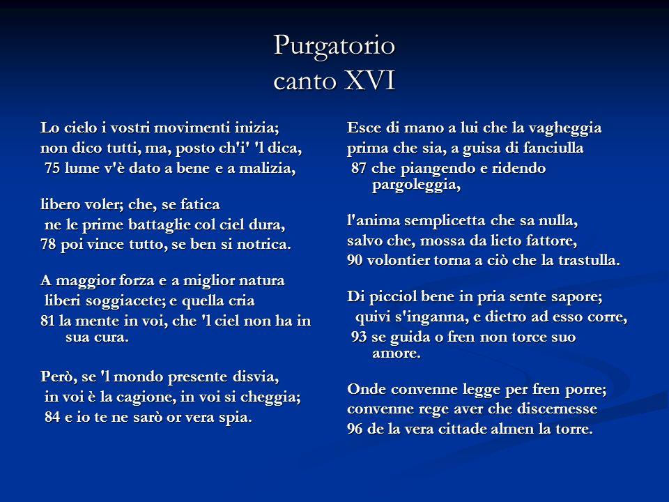 Purgatorio canto XXX- Dante incontra Beatrice 55 «Dante, perché Virgilio se ne vada, non pianger anco, non piangere ancora; non pianger anco, non piangere ancora; ché pianger ti convien per altra spada».