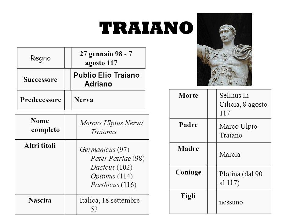 TRAIANO Regno 27 gennaio 98 - 7 agosto 117 PredecessoreNerva Successore Publio Elio Traiano Adriano Nome completo Marcus Ulpius Nerva Traianus Altri t
